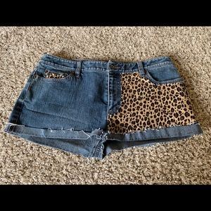 Ann Taylor Denim and Leopard shorts